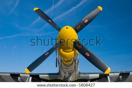 The nose of a P-51 Mustang WWII fighter plane - stock photo