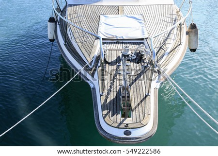 the nose of the yacht mooring rope the Mediterranean sea