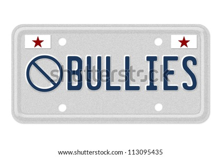 The not symbol and word Bullies on a gray license plate with stars symbol isolated on white, No bullies allowed