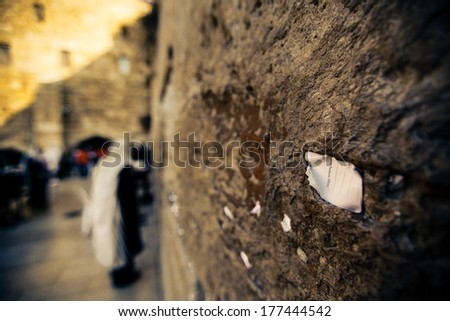 The note in the Wailing Wall addressed to God. Jerusalem, Israel - stock photo