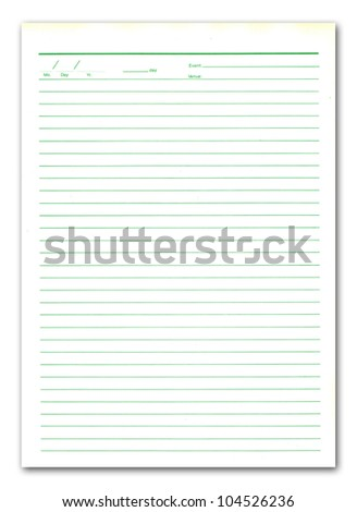 The notebook paper on white background