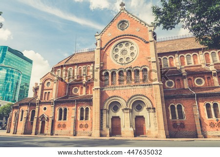 The Notre-Dame Saigon Basilica in Ho Chi Minh City, Vietnam, Southeast Asia  (Vintage filter effect used) - stock photo