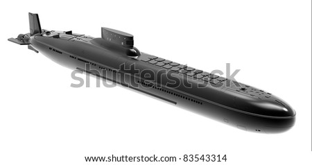 The nuclear submarine on a white background - stock photo