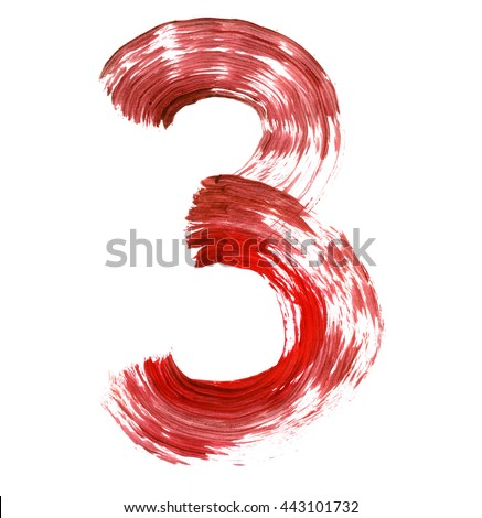 The number 3 drawn with red paints on a white background. Acrylic color, thick brush, paper. Graffiti Style. - stock photo