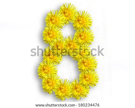 The number eight from yellow flowers