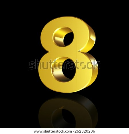 The number eight with the effect of 3D isolated on black background - stock photo