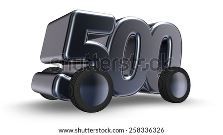 the number five hundred on wheels - 3d illustration - stock photo