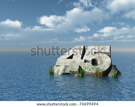 the number forty five at the ocean - 3d illustration - stock photo