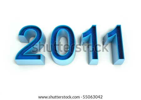The number 2011 in a cool blue color. Isolated on a white background. 3d rendered image. Clipping path included