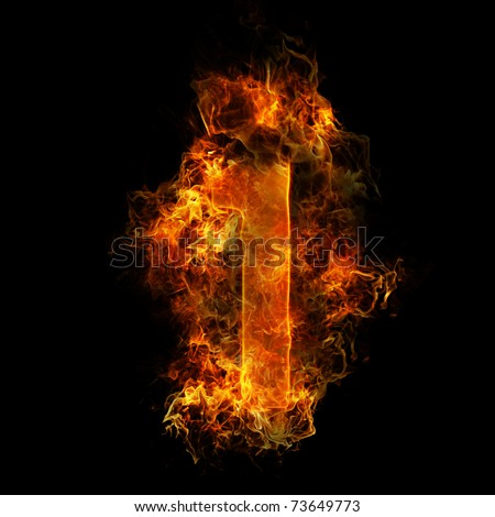 The number 1 made from blazing fire