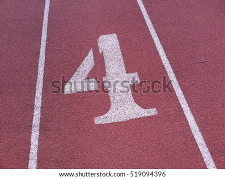 the number 4 on a running track
