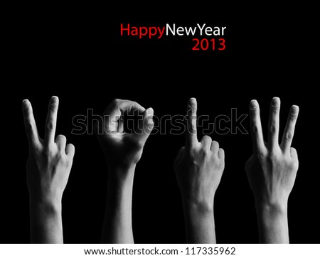The number 2013 shown by fingers in creative New Year greeting card - stock photo