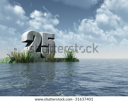 the number twenty five - 25 -  at the ocean - 3d illustration - stock photo