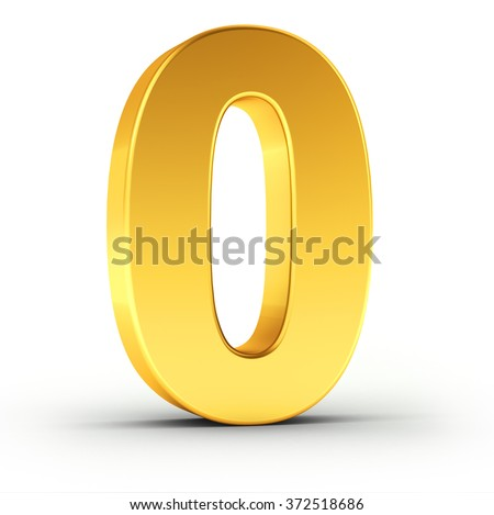 The number zero as a polished golden object over white background with clipping path for quick and accurate isolation. - stock photo