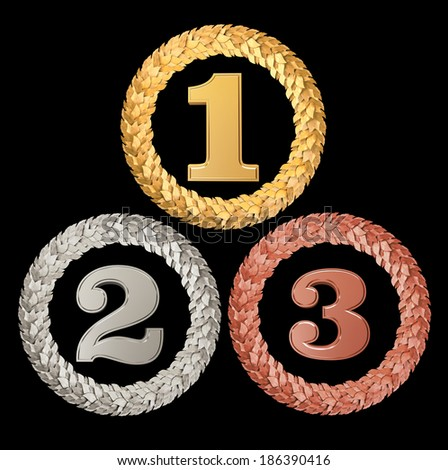 The numbers 1,2,3 in Laurel wreaths - stock photo