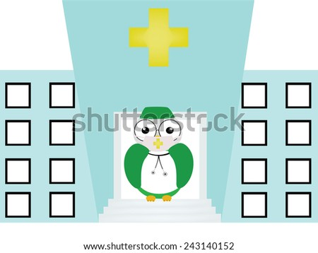 The nurse owl is in front of the hospital - stock photo
