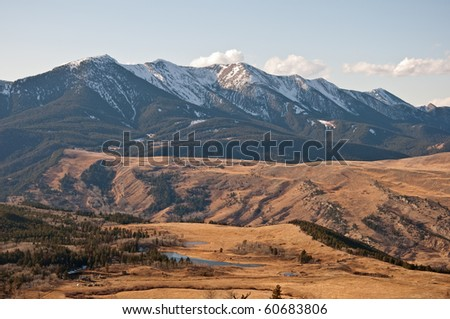 The Nurses Lakes and Gallatin National Forest on the West Boulder basin near McLeod, Montana. - stock photo