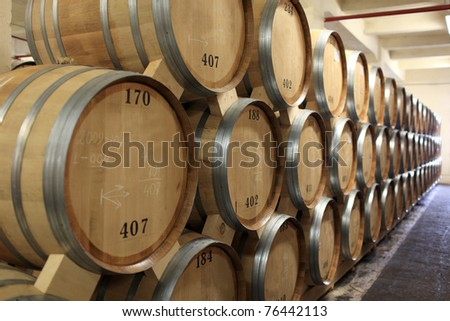 The oak pipes of brandy in winery, Yerevan, Armenia - stock photo