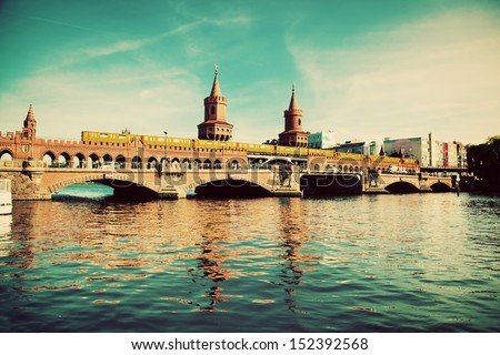 vintage berlin the oberbaum bridge german oberbaumbrucke and river spree in germany retro furniture mitte