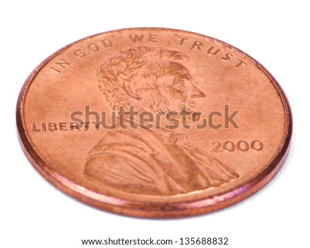 The obverse side of a USA 1 cent (penny) coin.  This is the version of the penny that was produced between the years 1959-2008, depicting Abraham Lincoln's portrait - stock photo