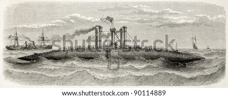 The Ocean old illustration: innovative American steamer launched in 1958, side view. Created by Lebreton, published on L'Illustration, Journal Universel, Paris, 1858 - stock photo