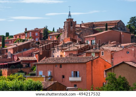 The Ochre-Red Village of Roussillon, Provence (France)