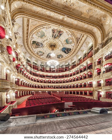 The Odessa National Academic Theater of Opera and Ballet in Ukraine. Central Golden Hall.  - stock photo