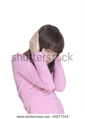 The offended child. Isolated on a white backgroun - stock photo