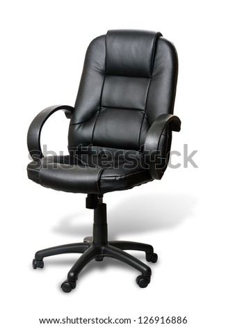 The office chair from black imitation leather with shadow on white