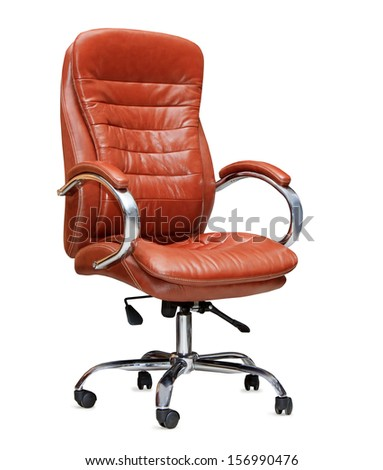 The office chair from orange leather. Isolated - stock photo