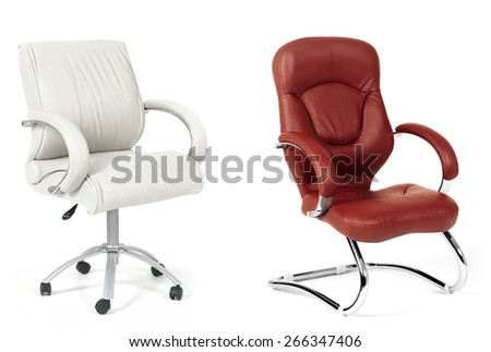 The office chairs from white and brown leather - stock photo