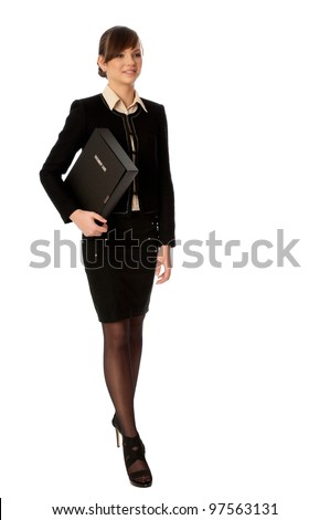The office worker working in office and holding the document case in the hands - stock photo