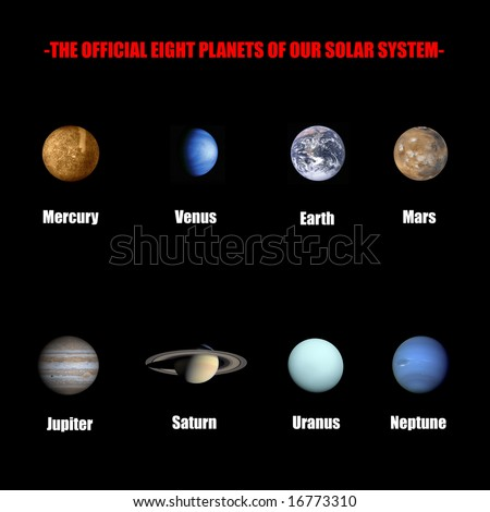 The official eight planets of our solar system - stock photo