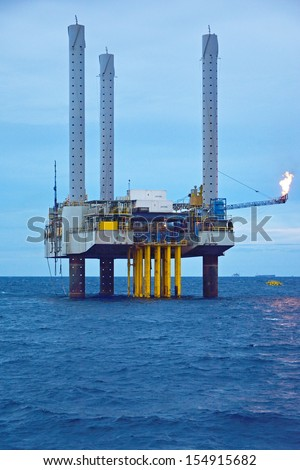 The offshore oil rig in early morning, Gulf of Thailand.