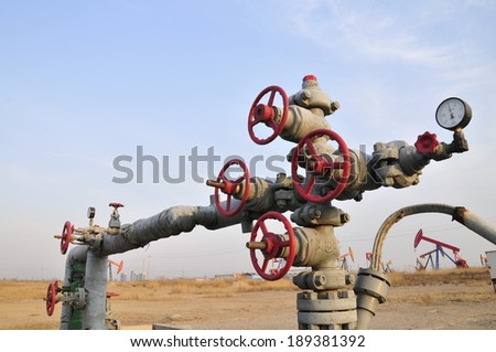 The oil drill pipes and valves