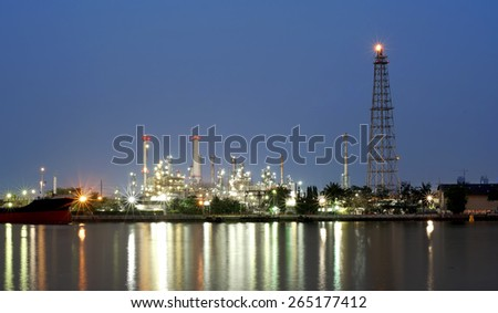 The Oil refinery with beautiful sky background - stock photo