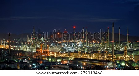 The Oil refinery with beautiful sky background