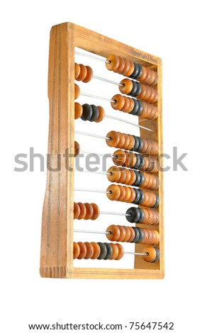 The old abacus isolated on a white background - stock photo