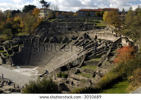 The old ancient roman arena in Lyon. France - stock photo