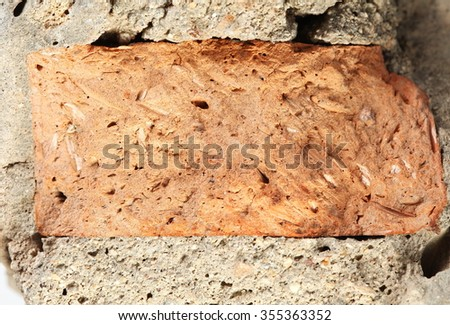 The old and dirty piece of damaged concrete wall represent the construction concept related idea. - stock photo