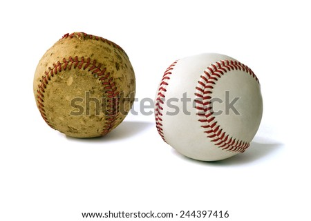 The Old And The New Sport Of Baseball On White Background - stock photo