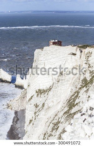 The Old Battery, a wartime outlook post, at the Needles Country Park and iconic white chalk cliffs, Isle of Wight, southern England, UK - stock photo
