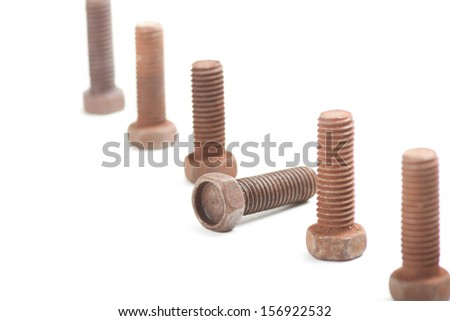the old bolts, isolated on white background