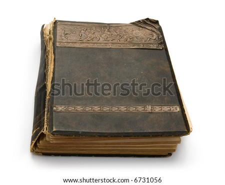 The old book with an engraving, isolated on white background