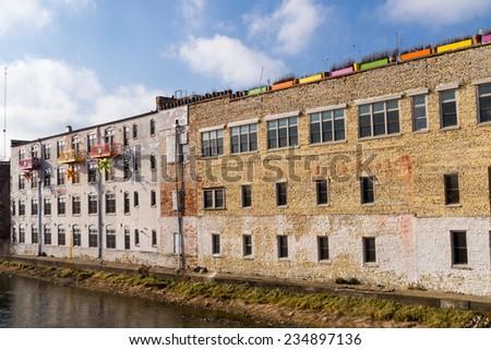 The old brick building in Aurora, IL, USA. - stock photo