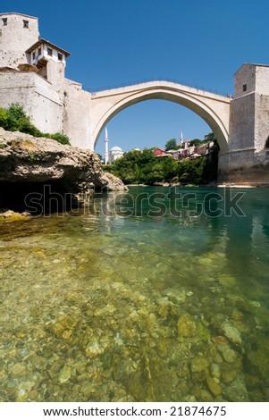 the old bridge in Mostar and river Neretva - stock photo