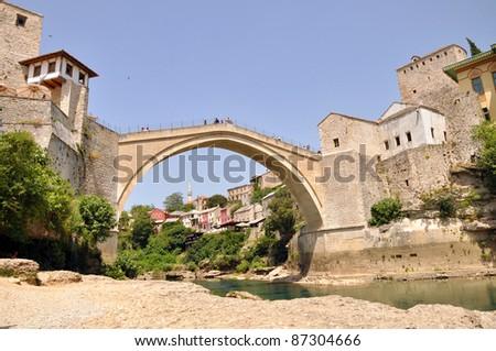 The Old Bridge, Mostar, Bosnia-Herzegovina - stock photo