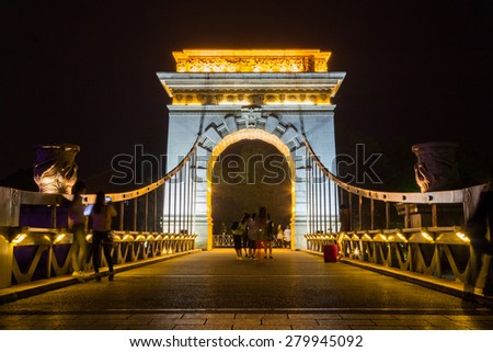 The old bridge over Two Rivers and Four Lakes in night in Guilin, Guangxi Province, China - stock photo