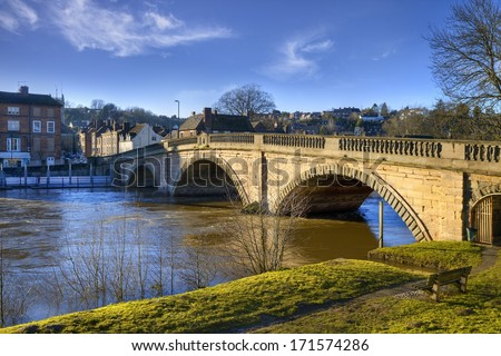 The old bridge spanning the River Severn at Bewdley, Worcestershire, England. - stock photo