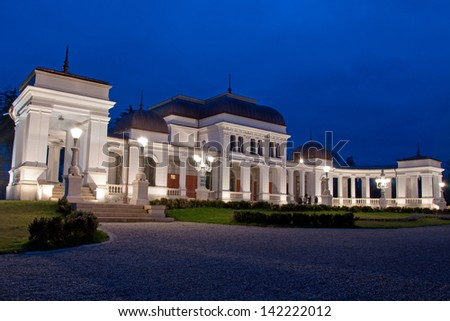 The old building of the former Casino of Cluj (est. 1897), shot at the blue hour. Nowadays serving as an urban arts center.